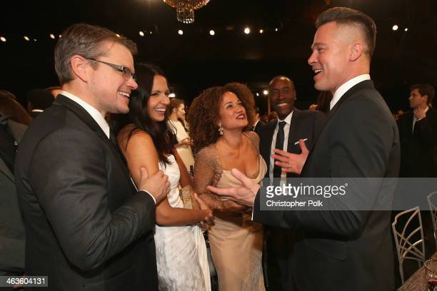 Matt Damon Luciana Damon Bridgid Coulter Don Cheadle and Brad Pitt attend the 20th Annual Screen Actors Guild Awards at The Shrine Auditorium on...