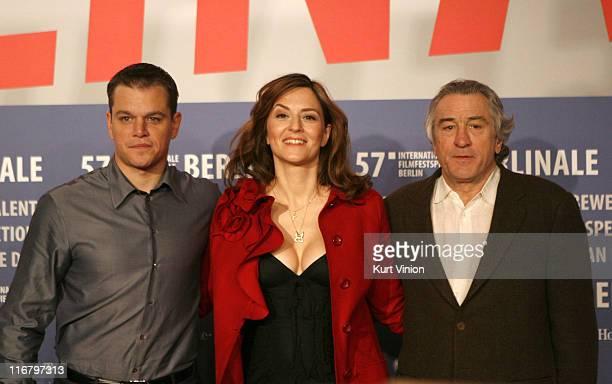 Matt Damon Martina Gedeck and Robert De Niro during The 57th Berlinale International Film Festival 'The Good Shepherd' Press Conference
