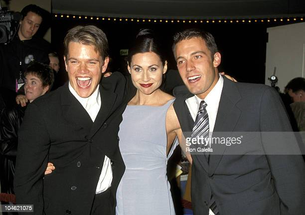 """Matt Damon, Minnie Driver, and Ben Affleck during AFI Benefit Premiere of """"Good Will Hunting"""" at Mann Bruin Theatre in Westwood, California, United..."""