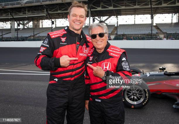 Matt Damon poses with Mario Andretti after completing the IndyCar Experience at the Indianapolis Motor Speedway on May 25, 2019 in Indianapolis,...