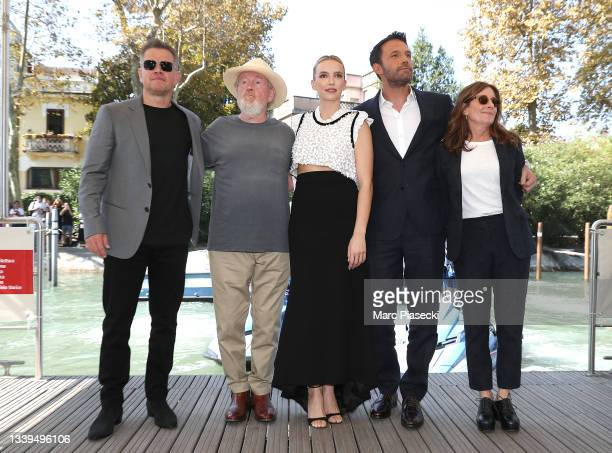 """Matt Damon, Ridley Scott, Jodie Comer, Ben Affleck and Nicole Holofcener arrive for the photocall of 20th Century Studios' movie """"The Last Duel""""..."""