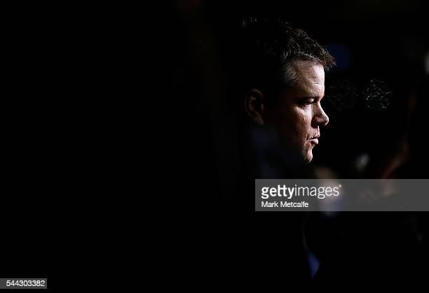 Matt Damon speaks with media ahead of the Jason Bourne Australian Premiere at Hoyts Entertainment Quarter on July 3 2016 in Sydney Australia