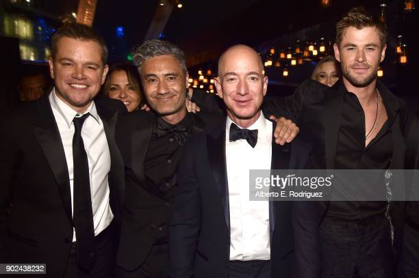 Matt Damon, Taika Waititi, Amazon Founder/CEO Jeff Bezos, Chris Hemsworth, , and MacKenzie Bezos attend Amazon Studios' Golden Globes Celebration at...