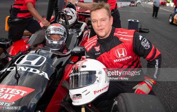 Matt Damon talks with Mario Andretti after completing the IndyCar Experience at the Indianapolis Motor Speedway on May 25, 2019 in Indianapolis,...