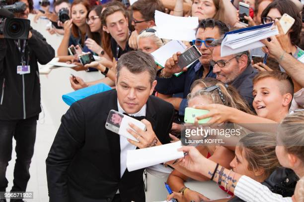 Matt Damon walks the red carpet ahead of the 'Suburbicon' screening during the 74th Venice Film Festival at Sala Grande on September 2 2017 in Venice...