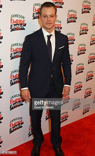 Matt Damon winner of the Jameson Best Actor award for 'The Martian' poses in the winners room at the Jameson Empire Awards 2016 at The Grosvenor...