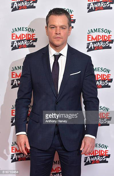 Matt Damon with the Jameson Best Actor award in the winners room at the Jameson Empire Awards 2016 at The Grosvenor House Hotel on March 20 2016 in...