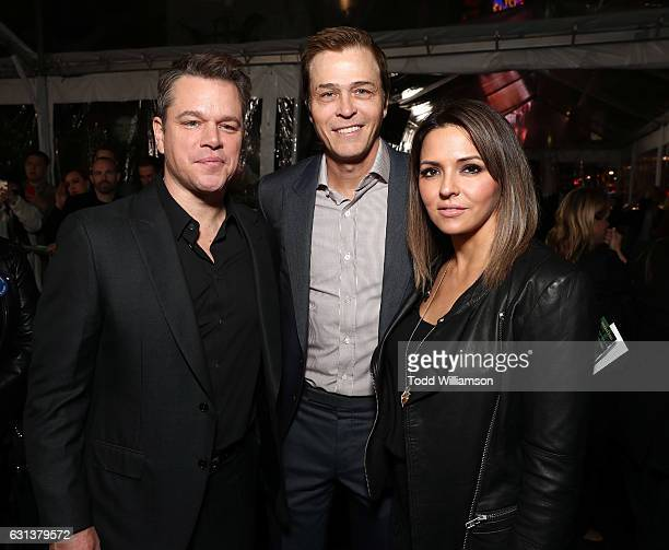 Matt Damon WME's Patrick Whitesell and Luciana Damon attend the premiere Of Warner Bros Pictures' Live By Night at TCL Chinese Theatre on January 9...