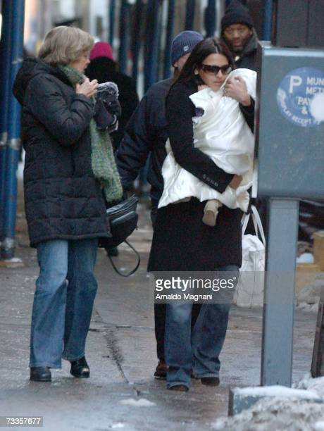 """Matt Damon's wife Luciana Damon and daughter Isabella are seen on a movie set for his new film """"The Bourne Ultimatum"""" February 17, 2007 in New York..."""