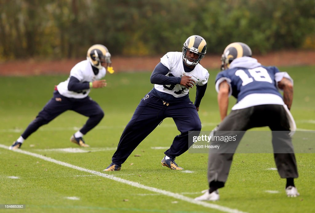 Matt Daniels (C) during a St Louis Rams training session at London Colney on October 24, 2012 in St Albans, England.