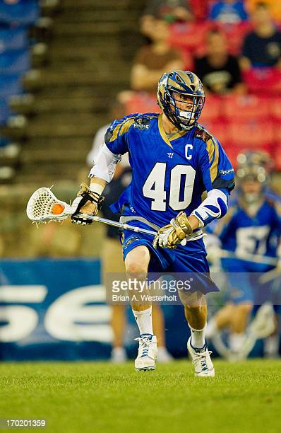 Matt Danowski of the Charlotte Hounds looks for an opening during second half action against the Ohio Machine at American Legion Memorial Stadium on...