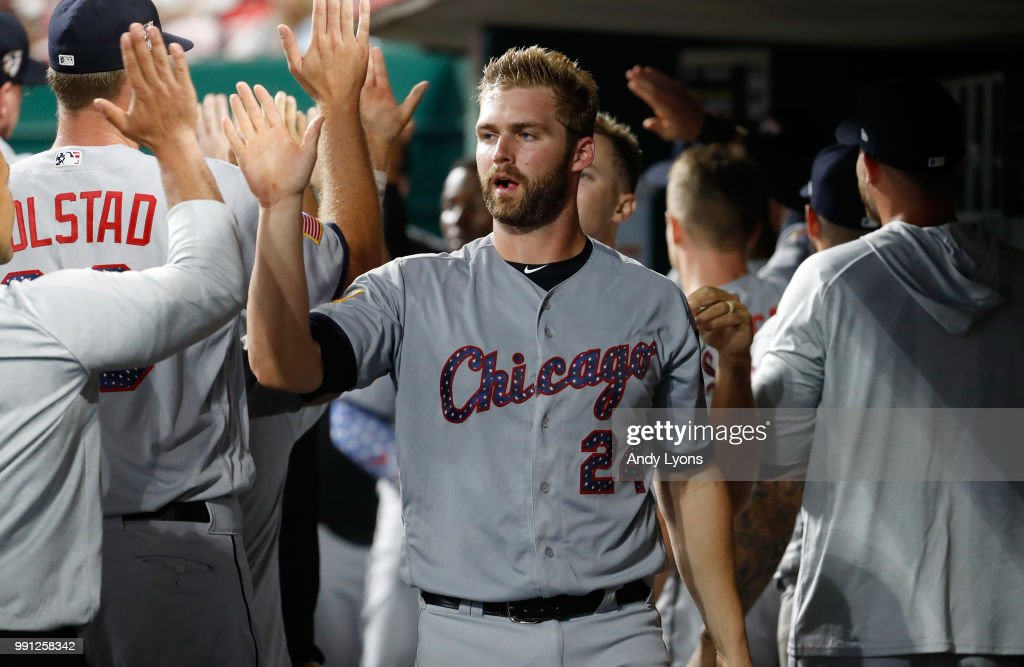 Matt Davidson #24 of the Chicago White Sox celebrates after scoring in the 12 inning against the Cincinnati Reds at Great American Ball Park on July 3, 2018 in Cincinnati, Ohio.