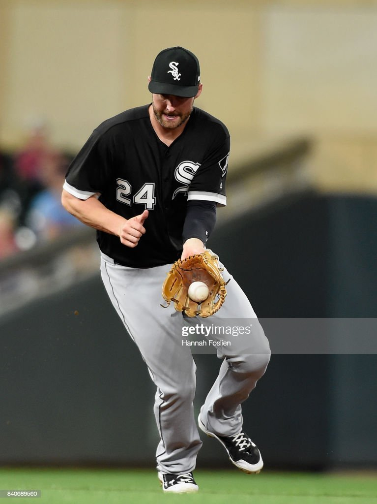 Matt Davidson #24 of the Chicago White Sox fields the ball hit by Joe Mauer #7 of the Minnesota Twins during the seventh inning of the game on August 29, 2017 at Target Field in Minneapolis, Minnesota. The Twins defeated the White Sox 6-4.