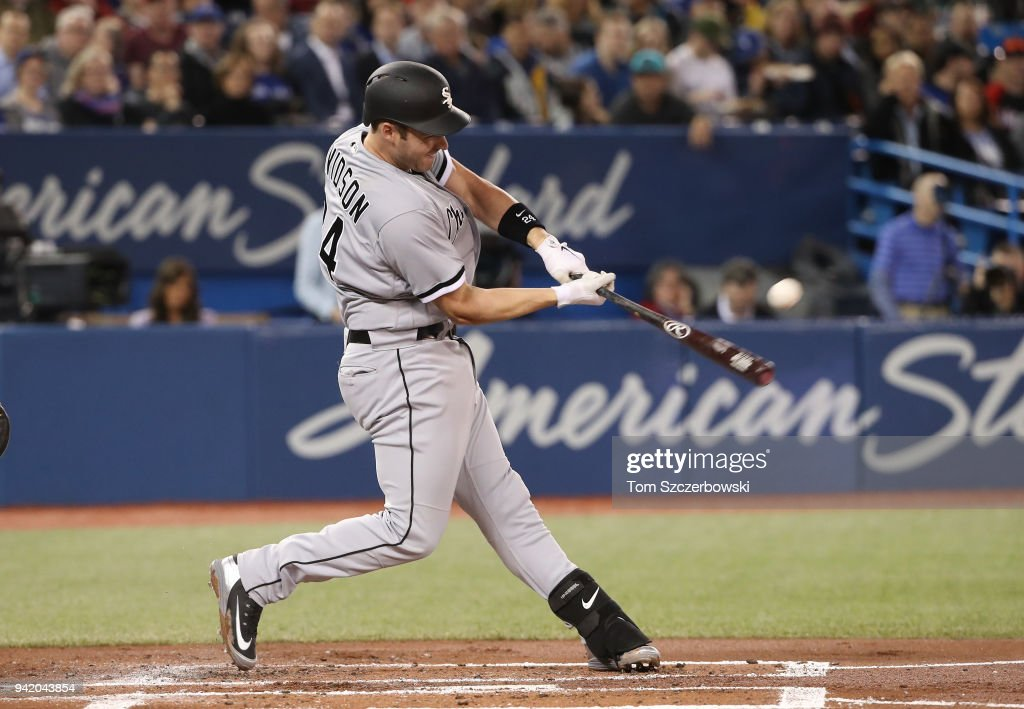 Matt Davidson #24 of the Chicago White Sox hits a solo home run in the second inning during MLB game action against the Toronto Blue Jays at Rogers Centre on April 4, 2018 in Toronto, Canada.