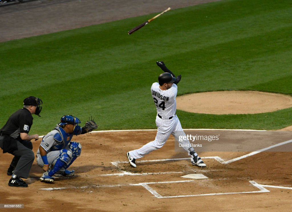 Matt Davidson #24 of the Chicago White Sox lose his bat as he bats against the Kansas City Royals during the first inning on September 23, 2017 at Guaranteed Rate Field in Chicago, Illinois.