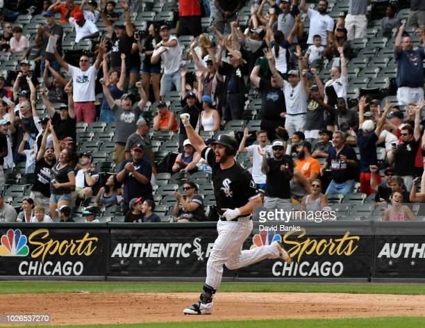 Matt Davidson of the Chicago White Sox reacts to his tworun walkoff home run against the Detroit Tigers during the ninth inning on September 3 2018...