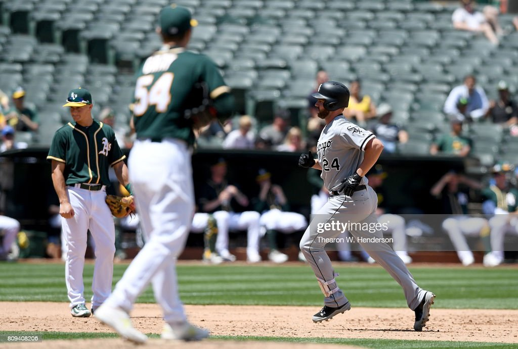 Matt Davidson #24 of the Chicago White Sox trots around the bases after hitting a two-run homer off of Sonny Gray #54 of the Oakland Athletics in the top of the fifth inning at Oakland Alameda Coliseum on July 5, 2017 in Oakland, California.