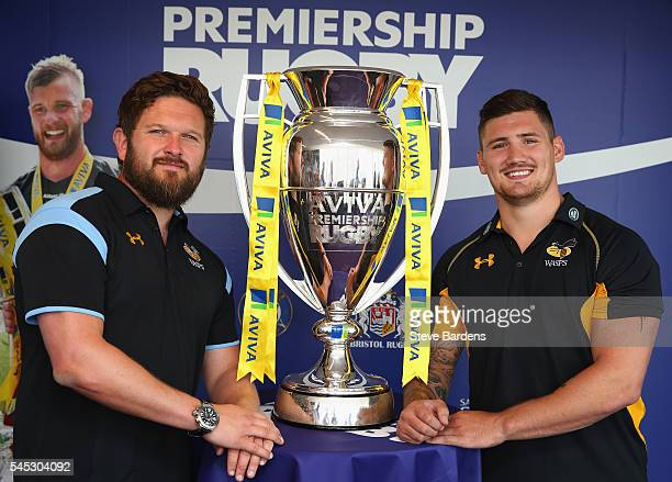Matt Davies and Guy Thompson of Wasps poses with the Aviva Premiership Trophy during the 201617 Aviva Premiership Rugby Season fixtures announcement...