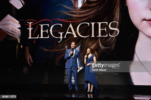 Matt Davis and Danielle Rose Russell of 'Legacies' speak on stage during The CW Network's 2018 upfront at New York City Center on May 17 2018 in New...