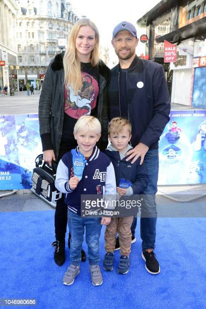 Matt Dawson and Carolin Hauskeller and their children Alex and Sam Dawson attend the family multimedia screening of Smallfoot at Cineworld Leicester...