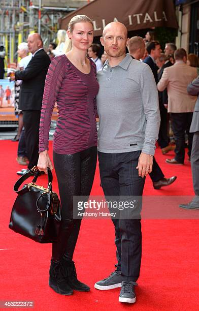 Matt Dawson and Carolin Hauskeller attend the World Premiere of The Inbetweeners 2 at Vue West End on August 5 2014 in London England