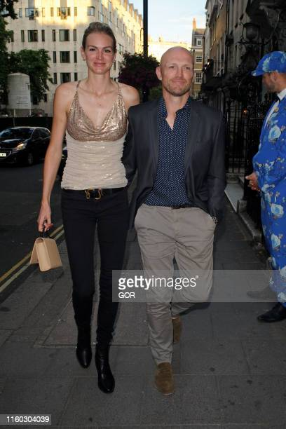 Matt Dawson and Carolin Hauskeller seen arriving at Annabel's private club in Mayfair on July 05 2019 in London England