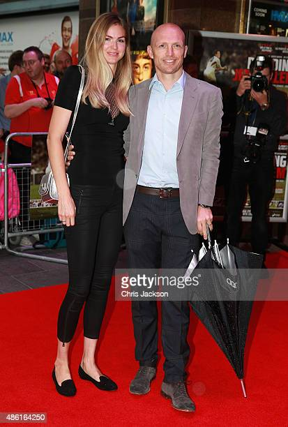 Matt Dawson and his wife Carolin Hauskeller attend the World Premiere of Building Jerusalem at Empire Leicester Square on September 1 2015 in London...