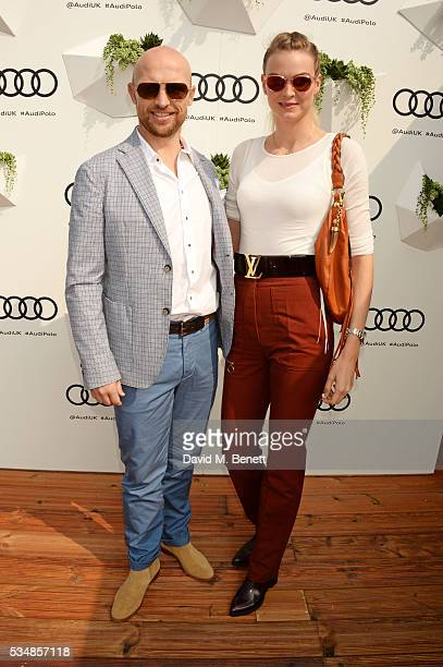 Matt Dawson and wife Carolin Hauskeller attend day one of the Audi Polo Challenge at Coworth Park on May 28 2016 in London England