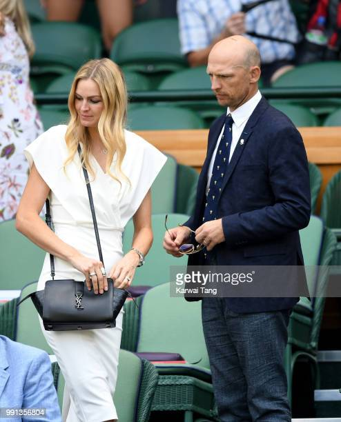 Matt Dawson and wife Carolin Hauskeller in the royal box on day three of the Wimbledon Tennis Championships at the All England Lawn Tennis and...