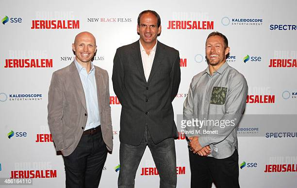 "Matt Dawson, Martin Johnson and Jonny Wilkinson attend the World Premiere of ""Building Jerusalem"" at the Empire Leicester Square on September 1, 2015..."