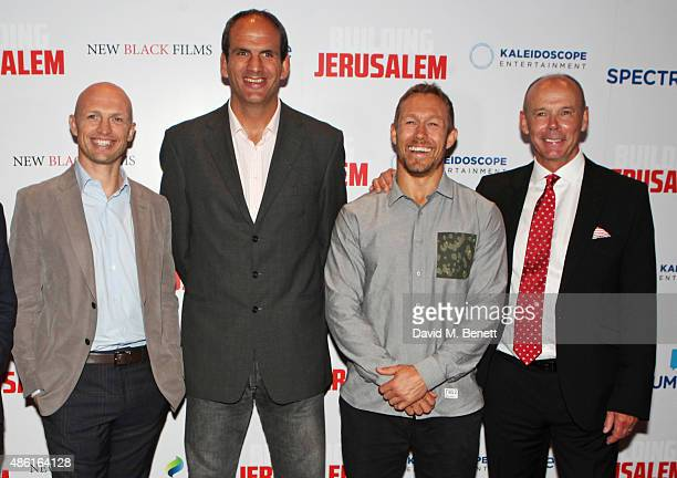 "Matt Dawson, Martin Johnson, Jonny Wilkinson and Sir Clive Woodward attend the World Premiere of ""Building Jerusalem"" at the Empire Leicester Square..."