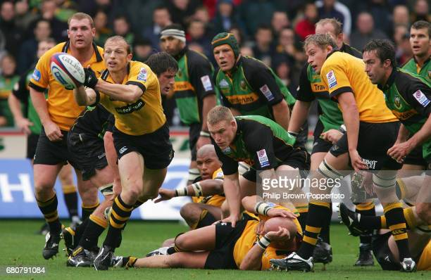 Matt Dawson of London Wasps gets his pass away during the Zurich Premiership match between London Wasps and Northampton Saints held at Franklin...