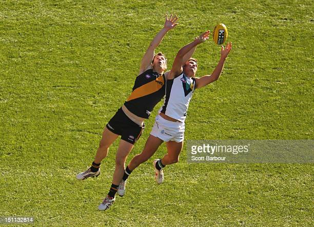 Matt Dea of the Tigers and Chad Wingard of the Power compete for the ball during the round 23 AFL match between the Richmond Tigers and the Port...