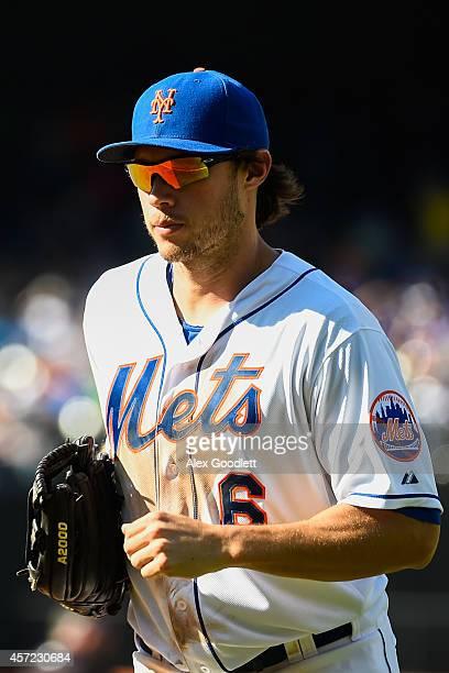 Matt den Dekker of the New York Mets runs off the field during a game against the Houston Astros at Citi Field on September 28 2014 in the Flushing...