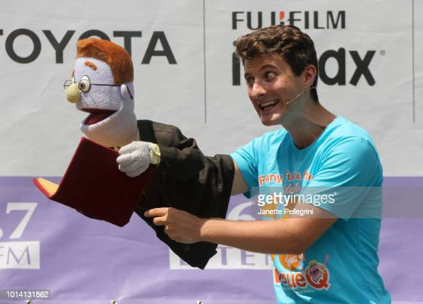Matt Dengler from the cast of Avenue Q performs at 1067 LITE FM's Broadway in Bryant Park on August 9 2018 in New York City