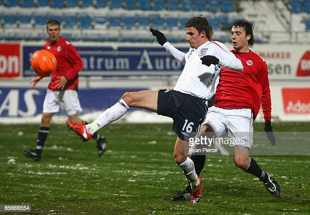 Matt Derbyshire of England scores his team's third goal during the U21 International Friendly match between Norway and England at Komplettno Arena on...