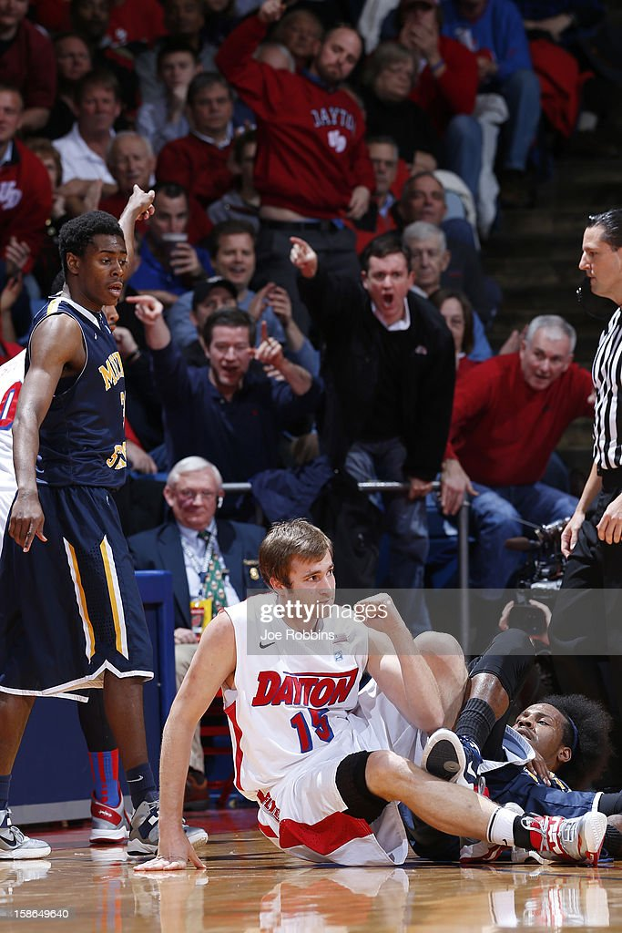 Matt Derenbecker #15 of the Dayton Flyers reacts after forcing a turnover against the Murray State Racers during the game at University of Dayton Arena on December 22, 2012 in Dayton, Ohio. The Flyers won 77-68.