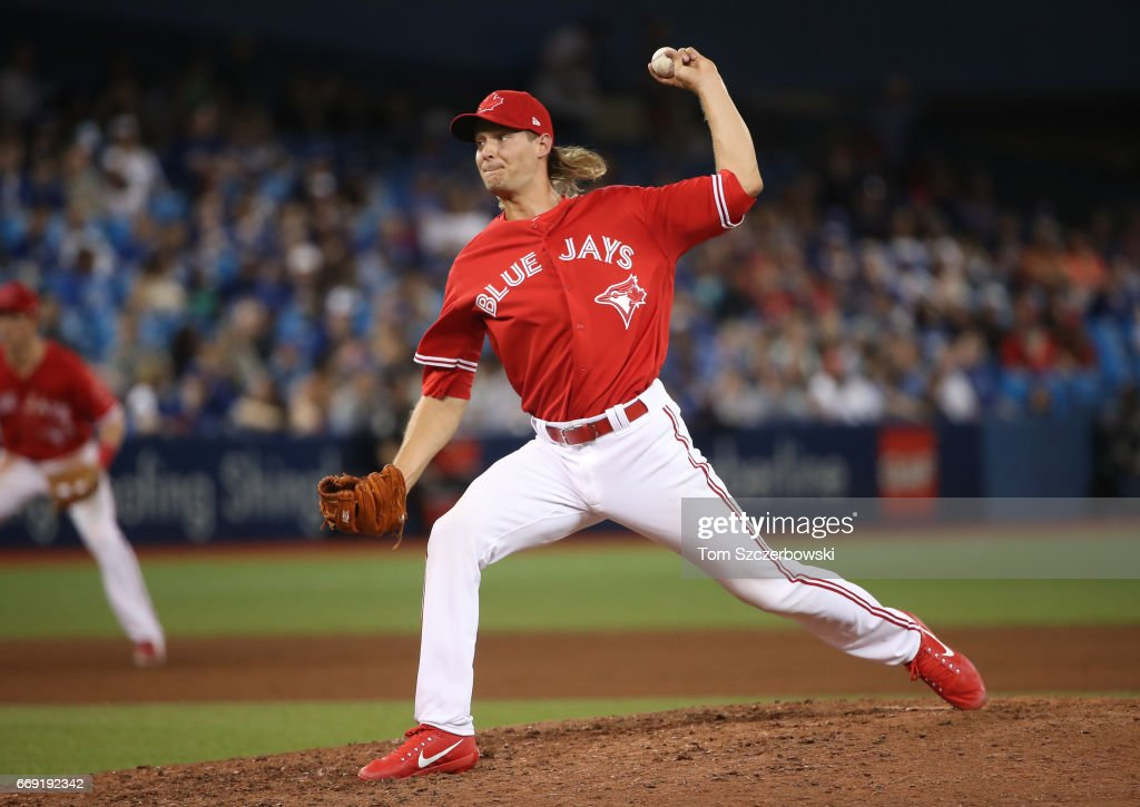 Matt Dermody #50 of the Toronto Blue Jays delivers a pitch in the eighth inning during MLB game action against the Baltimore Orioles at Rogers Centre on April 16, 2017 in Toronto, Canada.