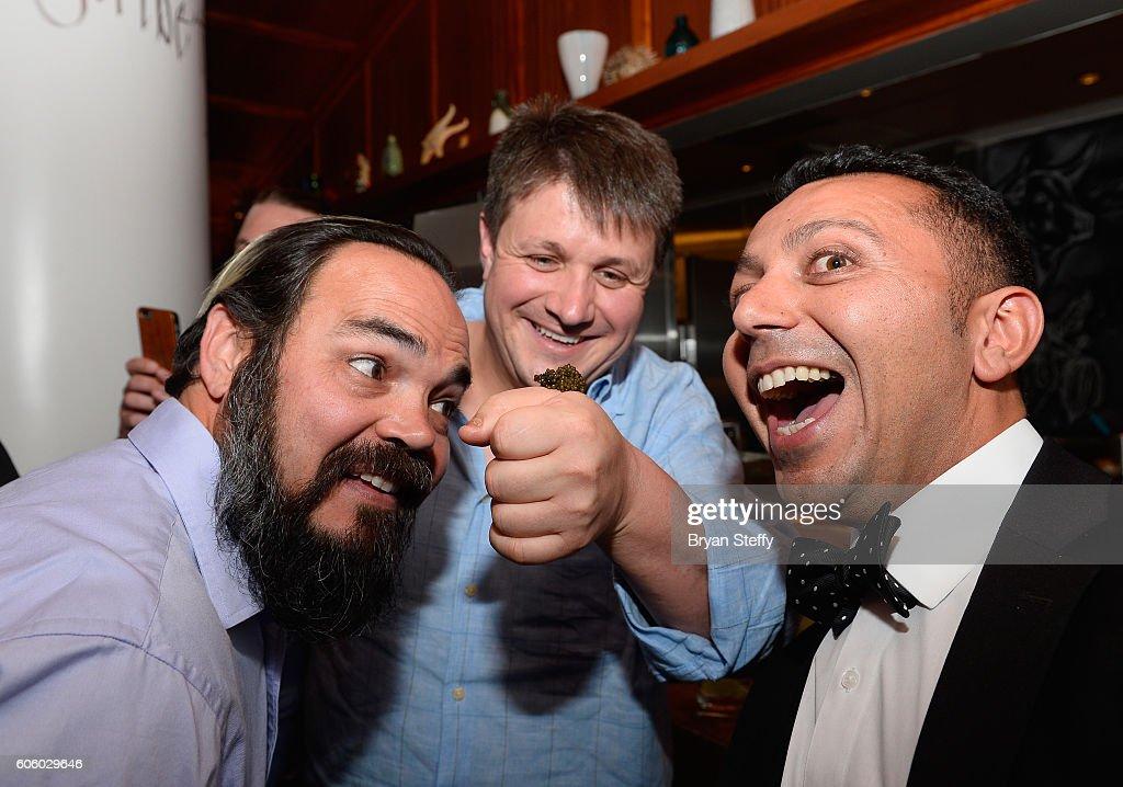 Matt Dhillon chef Eric Klein and Barcelona CEO Alan Semsar attend the Las Vegas Food & Wine Festival at Bazaar Meat at SLS Las Vegas Hotel on September 15, 2016 in Las Vegas, Nevada.