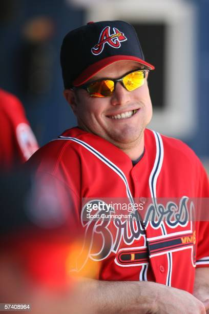 Matt Diaz of the Atlanta Braves relaxes in the dugout before the game against the San Diego Padres at Turner Field on April 16 2006 in Atlanta...