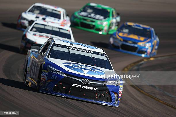 Matt DiBenedetto driver of the JAS Expedited Tracking Toyota leads a pack of cars during the NASCAR Sprint Cup Series CanAm 500 at Phoenix...