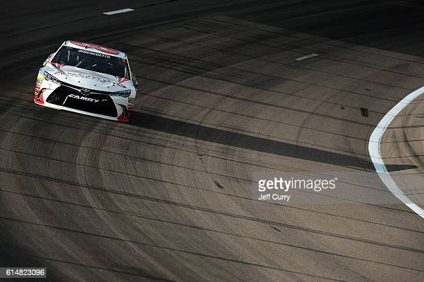 Matt DiBenedetto driver of the Scorpyd Toyota practices for the NASCAR Sprint Cup Series Hollywood Casino 400 at Kansas Speedway on October 15 2016...