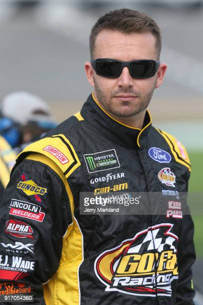 Matt DiBenedetto driver of the The Hurricane Heist Ford looks on from the grid during qualifying for the Monster Energy NASCAR Cup Series Daytona 500...