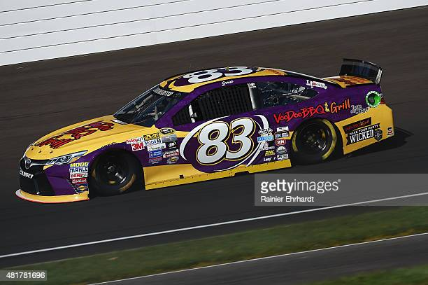 Matt DiBenedetto driver of the VooDoo BBQ Grill Toyota practices for the NASCAR Sprint Cup Series Crown Royal Presents the Jeff Kyle 400 at the...