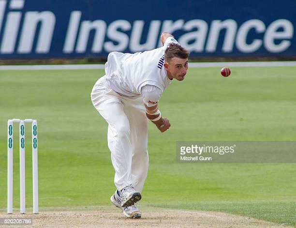 Matt Dixon of Essex bowling during the Specsavers County Championship match between Essex and Gloucestershire at the County Ground on April 10 2016...