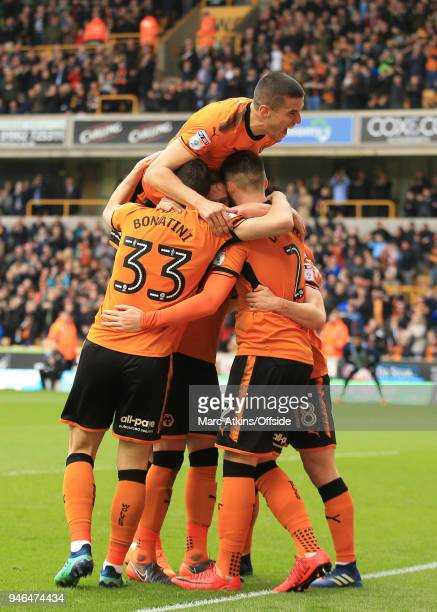 Matt Doherty and Diogo Jota of Wolverhampton Wanderers celebrate the opening goal during the Sky Bet Championship match between Wolverhampton...