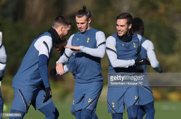 Matt Doherty, Gareth Bale and Harry Winks of Tottenham Hotspur during the Tottenham Hotspur training session ahead of the UEFA Europa League Group J...