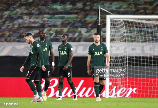 Matt Doherty, Moussa Sissoko, Davinson Sanchez and Eric Dier of Tottenham Hotspur react after conceding during the Premier League match between...