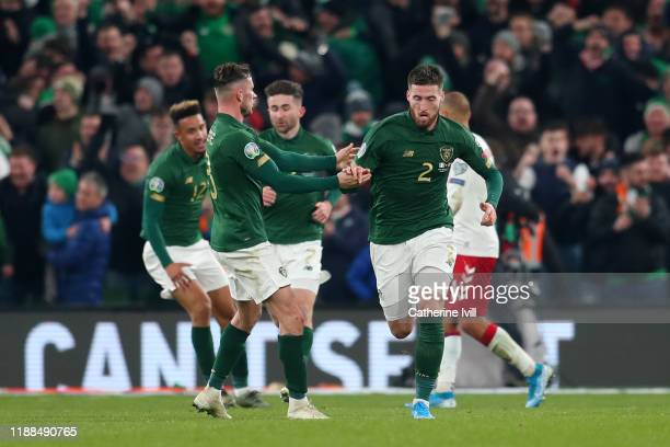 Matt Doherty of Republic of Ireland celebrates after scoring his sides 1st goal during the UEFA Euro 2020 qualifier between Republic of Ireland and...