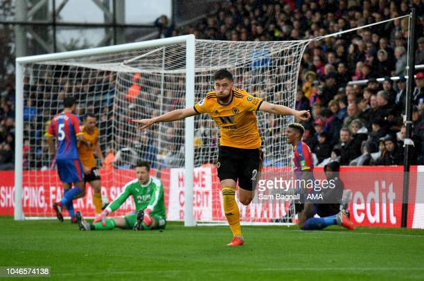 Matt Doherty of Wolverhampton Wanderers celebrates after scoring a goal to make it 01 during the Premier League match between Crystal Palace and...